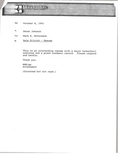 Thumbnail of Memorandum from Mark H. McCormack to Peter Johnson