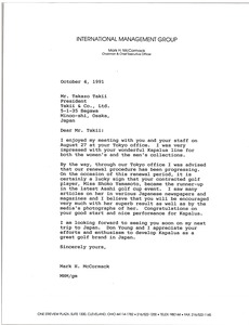 Thumbnail of Letter from Mark H. McCormack to Takazo Takii