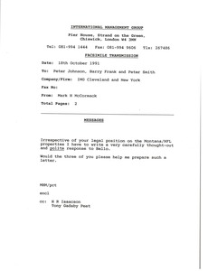Thumbnail of Fax from Mark H. McCormack to Peter Johnson, Barry Frank and Peter Smith