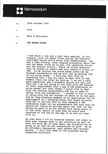Thumbnail of Memorandum from Mark H. McCormack to Ian Baker-Finch file