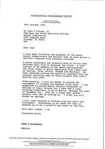 Thumbnail of Letter from Mark H. McCormack to John P. Frazee
