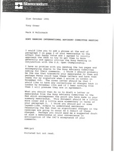 Thumbnail of Memorandum from Mark H. McCormack to Tony Greer