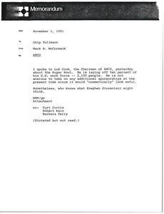 Thumbnail of Memorandum from Mark H. McCormack to Chip Tolleson