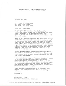 Thumbnail of Letter from Michelle F. Lane to Peter K. Felberbaum