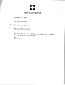 Thumbnail of Memorandum from Gretchen Mayfield to William Carpenter