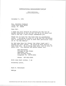 Thumbnail of Letter from Mark H. McCormack to Delefern Hubbard