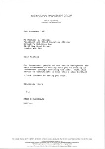 Thumbnail of Letter from Mark H. McCormack to Michael L. Ainslie