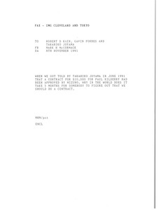 Thumbnail of Fax from Mark H. McCormack to Robert D Kain, Gavid Forbes and Takahiko Joyama