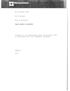 Thumbnail of Memorandum from Mark H. McCormack to Guy Kinnings