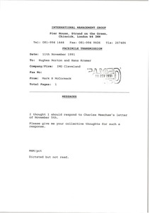Thumbnail of Fax from Mark H. McCormack to Hughes Norton and Hans Kramer