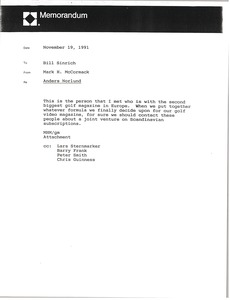 Thumbnail of Memorandum from Mark H. McCormack to Bill Sinrich
