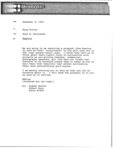 Thumbnail of Memorandum from Mark H. McCormack to Doug Pirnie