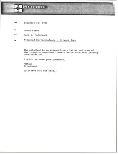 Thumbnail of Memorandum from Mark H. McCormack to David Yates