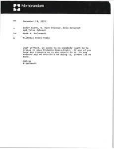 Thumbnail of Memorandum from Mark H. McCormack to Peter Smith, H. Kent Stanner, Eric Drossart         and Peter Johnson