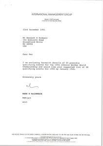 Thumbnail of Letter from Mark H. McCormack to Bennett E. Bidwell