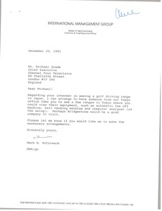 Thumbnail of Letter from Mark H. McCormack to Michael Grade