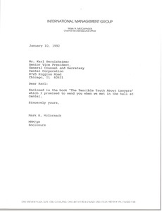 Thumbnail of Letter from Mark H. McCormack to Karl Berolzhimer