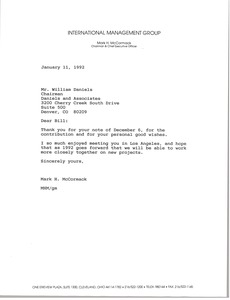Thumbnail of Letter from Mark H. McCormack to William Daniels