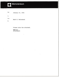 Thumbnail of Memorandum from Mark H. McCormack concerning Donnay opportunity