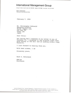 Thumbnail of Letter from Mark H. McCormack to Christopher McDonald