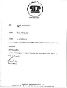 Thumbnail of Fax from Pauline Marks to Mark H. McCormack