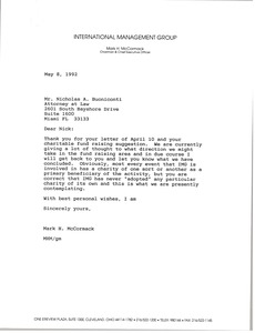 Thumbnail of Letter from Mark H. McCormack to Nicholas A. Buoniconti