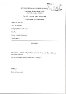 Thumbnail of Fax from Mark H. McCormack to Tak Masaoka