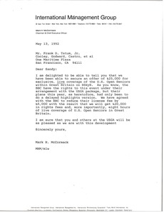 Thumbnail of Letter from Mark H. McCormack to Frank D. Tatum, Jr.