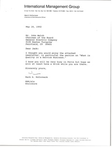 Thumbnail of Letter from Mark H. McCormack to John Welch