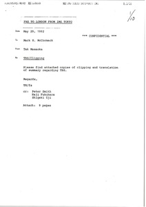 Thumbnail of Fax from Tak Masaoka to Mark H. McCormack