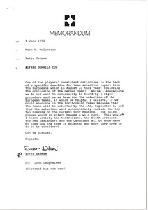 Thumbnail of Memorandum from Peter German to Mark H. McCormack