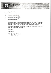 Thumbnail of Memorandum from Erik van Dillen to Mark H. McCormack