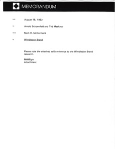 Thumbnail of Memorandum from Mark H. McCormack to Arnold Schoenfeld and Ted Meekma