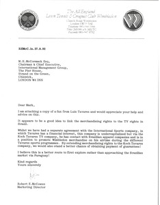 Thumbnail of Letter from Robert E. McCowen to Mark H. McCormack