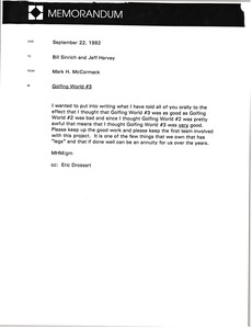 Thumbnail of Memorandum from Mark H. McCormack to Bill Sinrich and Jeff Harvey