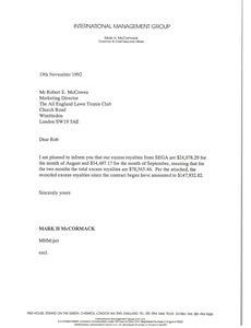Thumbnail of Letter from Mark H. McCormack to Robert E. McCowen