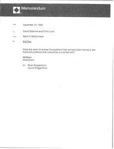 Thumbnail of Memorandum from Mark H. McCormack to David Osborne and Chris Lund