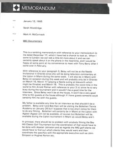 Memorandum from Mark H. McCormack to Sarah Wooldridge