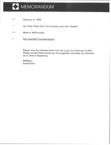 Thumbnail of Memorandum from Mark H. McCormack to Ian Todd, Peter Kuhn, Eric Drossart and John Webber