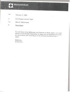 Thumbnail of Memorandum from Mark H. McCormack to Eric Drossart and Ian Todd