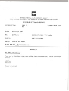 Thumbnail of Fax from Mark H. McCormack to Jeff Harvey