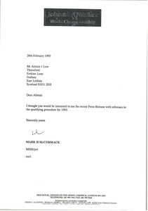 Thumbnail of Letter from Mark H. McCormack to multiple recipients