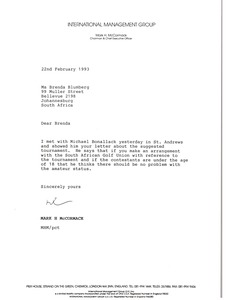 Thumbnail of Letter from Mark H. McCormack to Brenda Blumberg