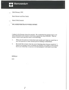 Thumbnail of Memorandum from Mark H. McCormack to Buzz Hornett, Peter Smith