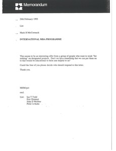 Thumbnail of Memorandum from Mark H. McCormack to List