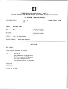 Thumbnail of Fax from Mark H. McCormack to list