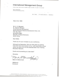 Thumbnail of Letter from Mark H. McCormack to E. S. Mangope