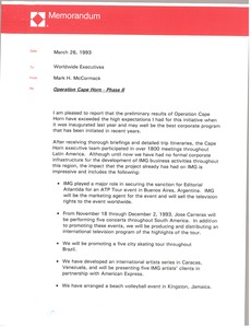 Thumbnail of Memorandum from Mark H. McCormack to worldwide executives