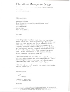Thumbnail of Letter from Mark H. McCormack to Melvin Goodes