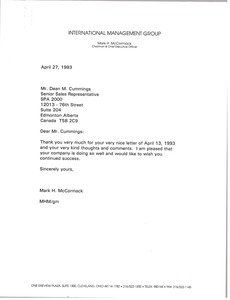 Thumbnail of Letter from Mark H. McCormack to Dean M. Cummings